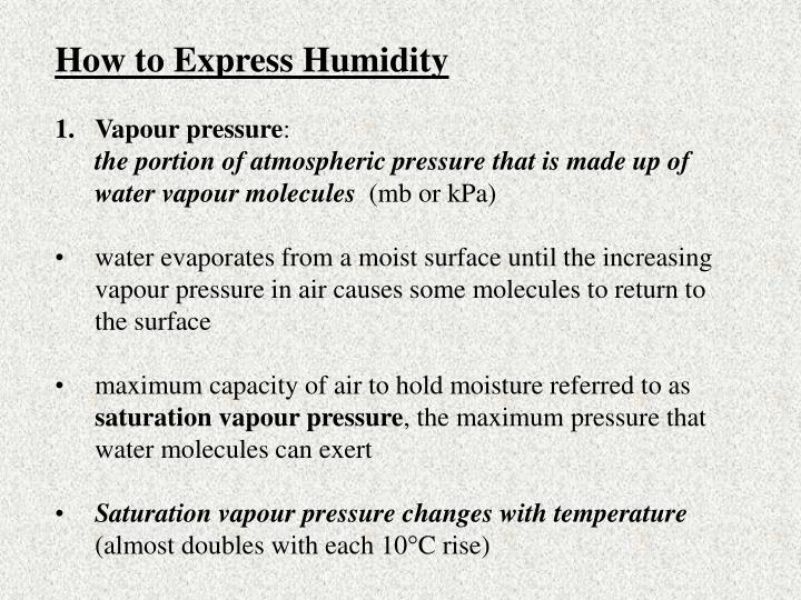 How to Express Humidity
