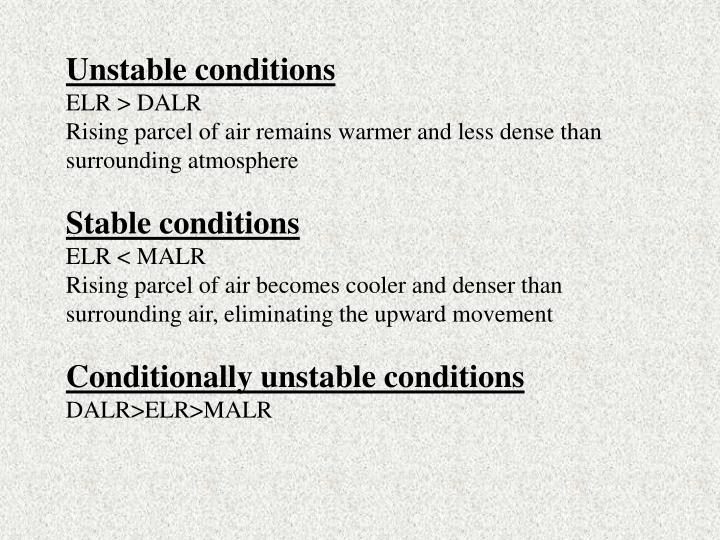 Unstable conditions