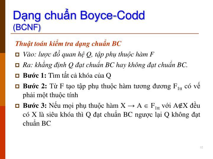 Dạng chuẩn Boyce-Codd