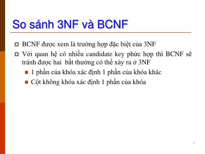 So sánh 3NF và BCNF