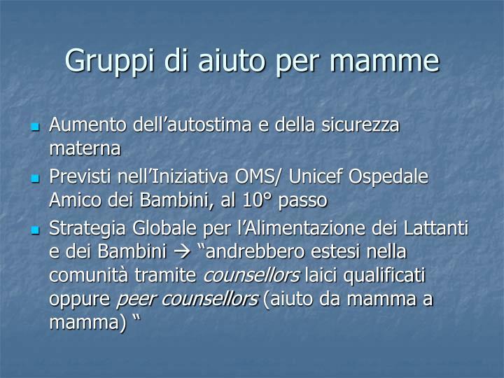 Gruppi di aiuto per mamme