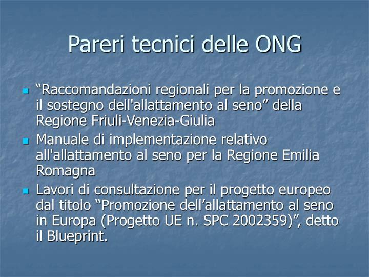 Pareri tecnici delle ONG