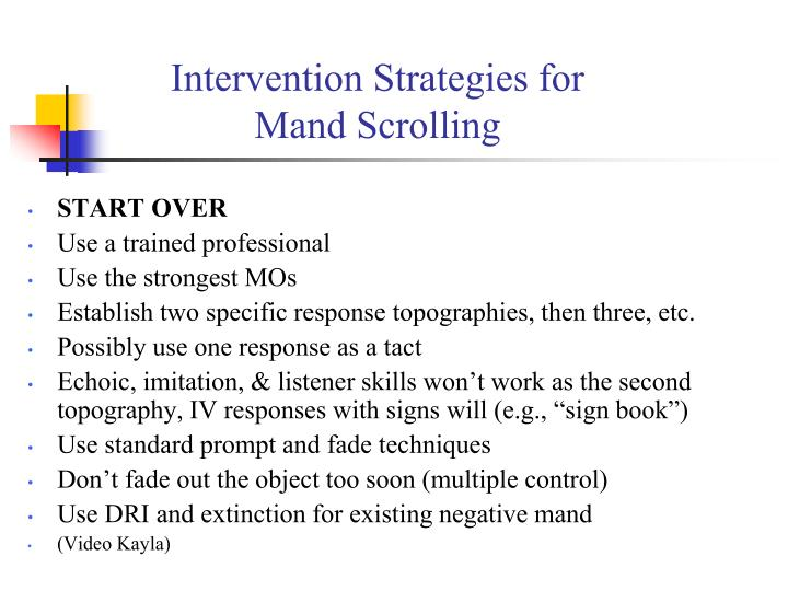 Intervention Strategies for