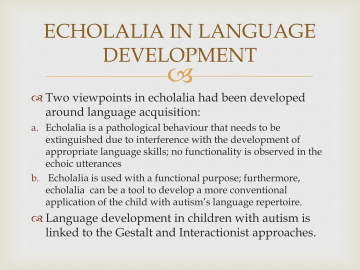 ECHOLALIA IN LANGUAGE DEVELOPMENT