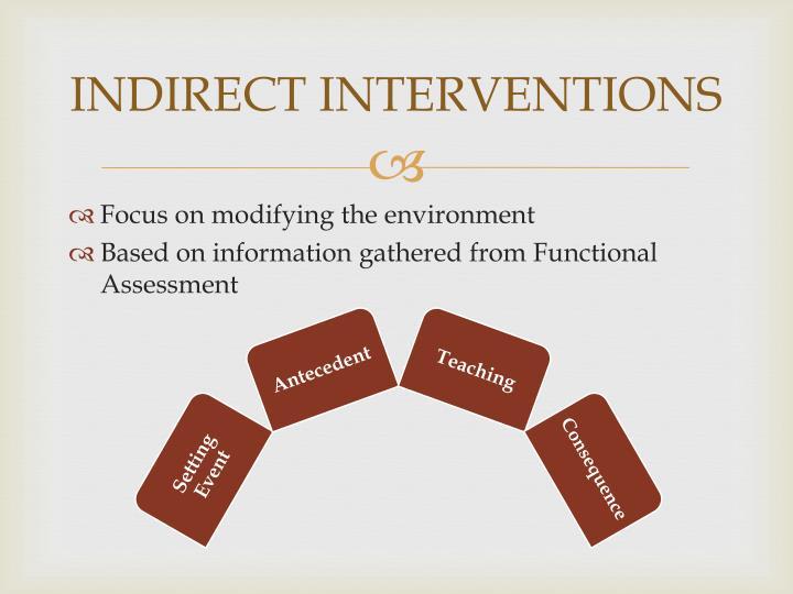 INDIRECT INTERVENTIONS