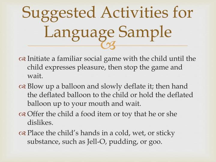 Suggested Activities for Language Sample