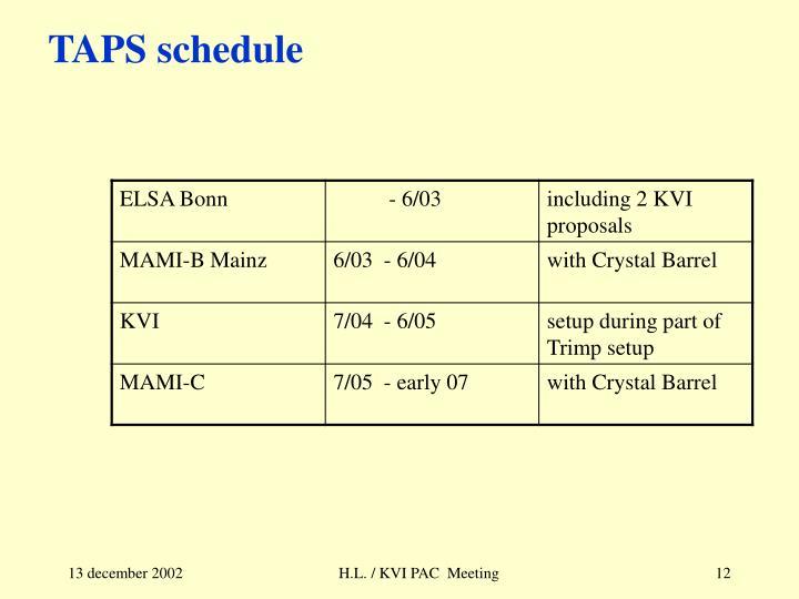 TAPS schedule