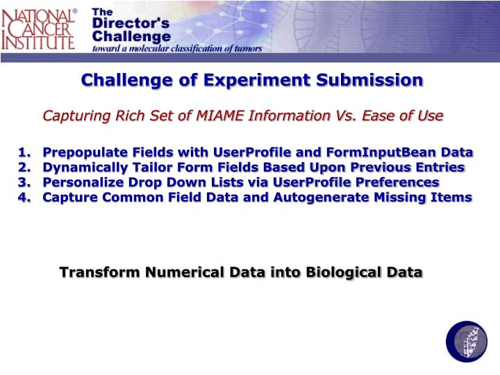 Challenge of Experiment Submission