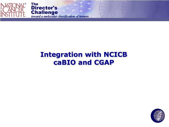 Integration with NCICB