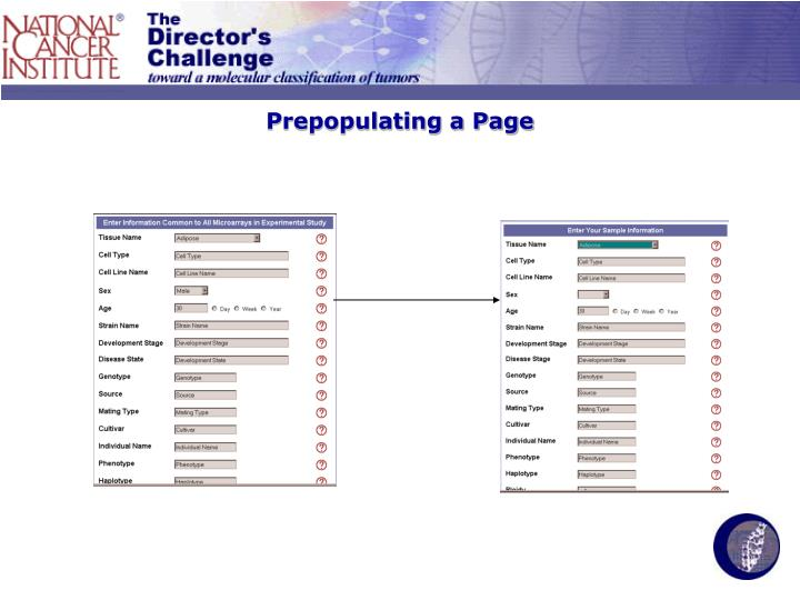 Prepopulating a Page