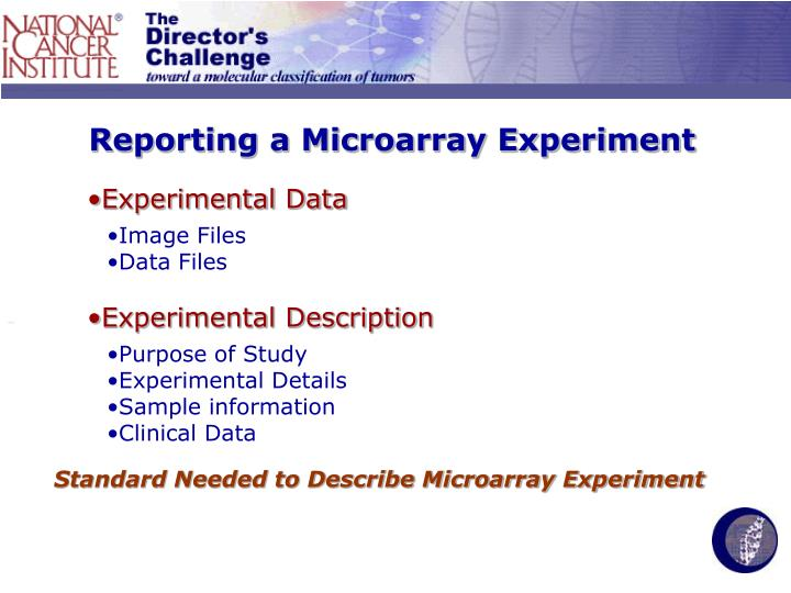 Reporting a Microarray Experiment