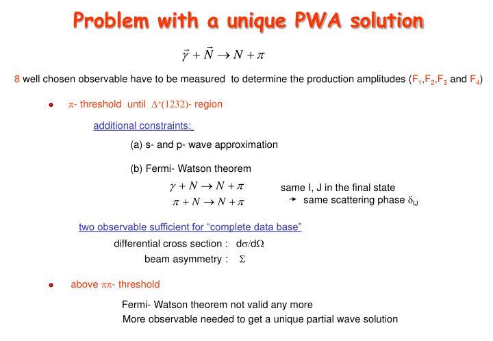 Problem with a unique PWA solution