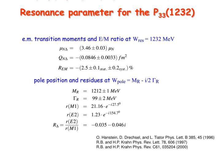Resonance parameter for the P