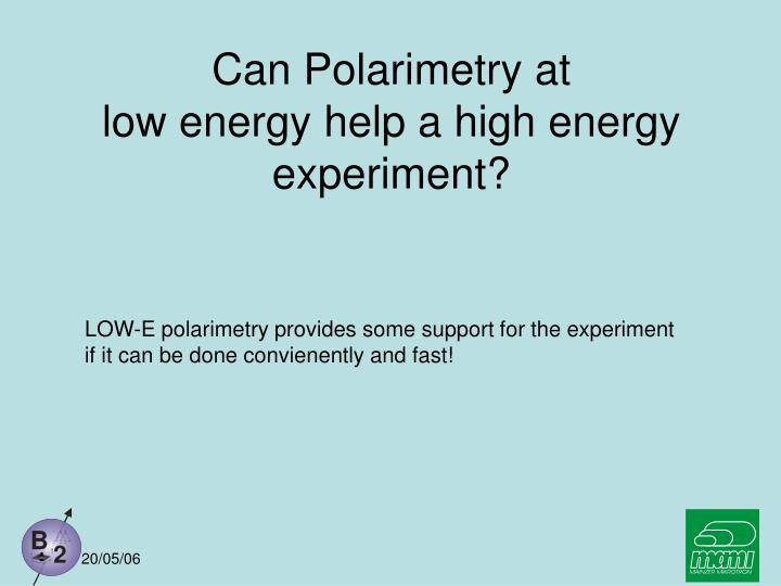 Can Polarimetry at