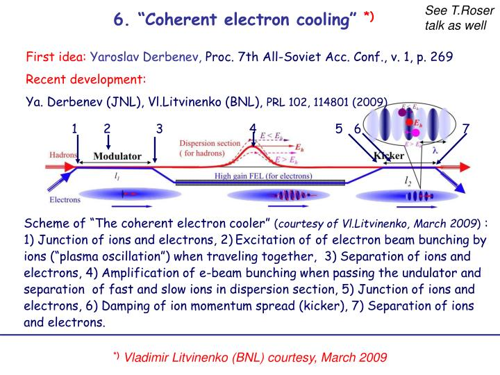 """6. """"Coherent electron cooling"""""""