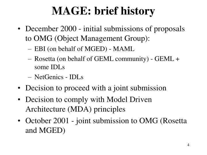 MAGE: brief history