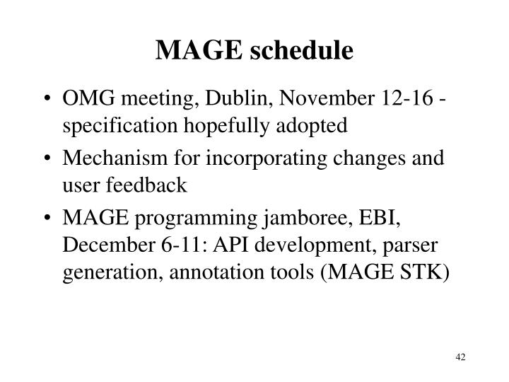 MAGE schedule