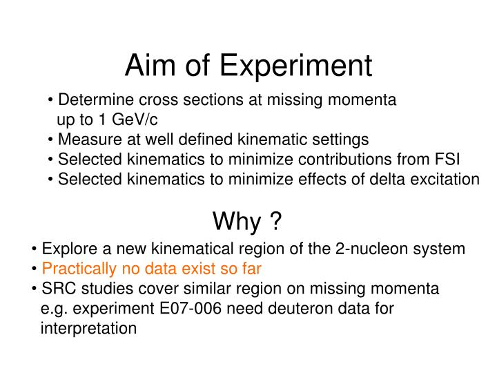 Aim of Experiment