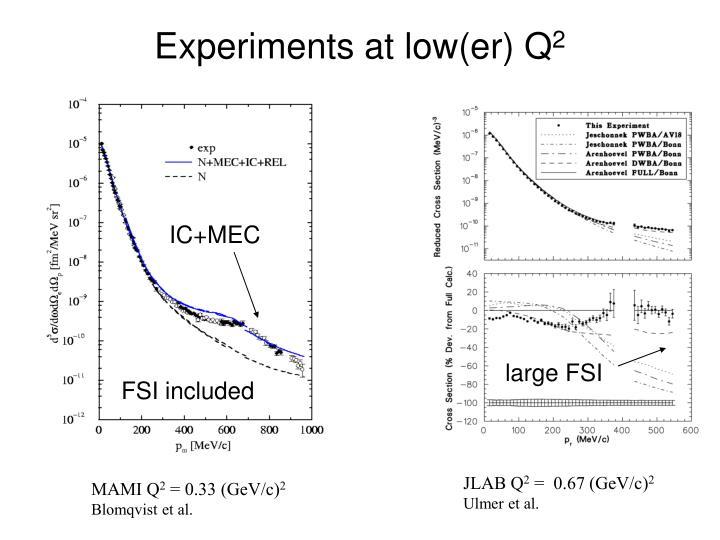 Experiments at low(er) Q