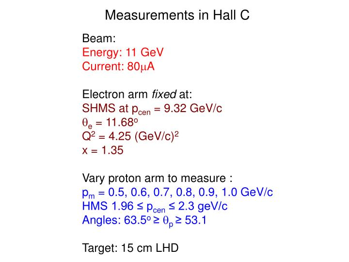 Measurements in Hall C