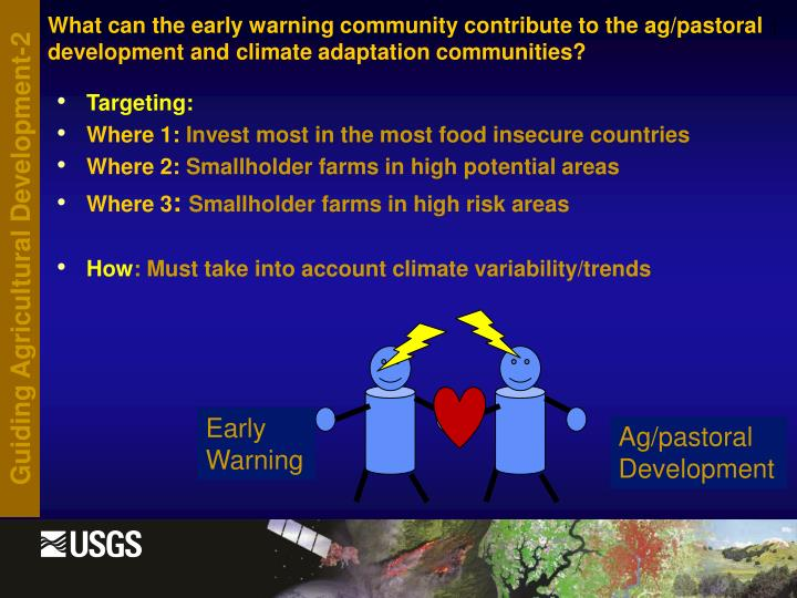 What can the early warning community contribute to the ag/pastoral development and climate adaptation communities?