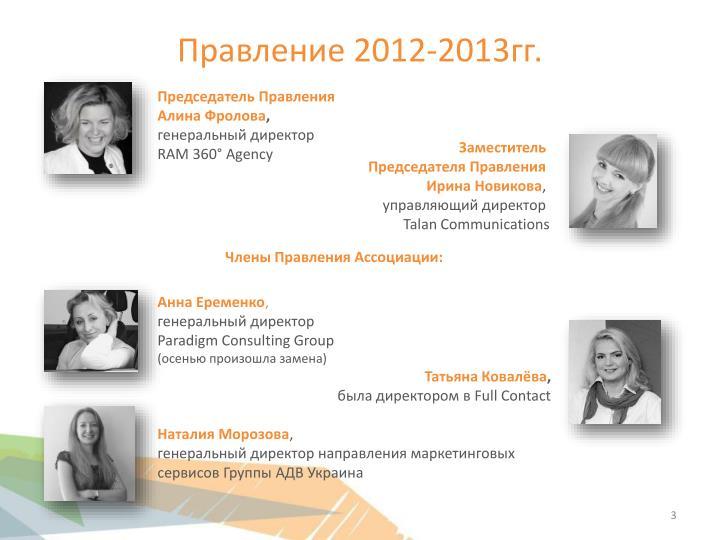 Правление 2012-201