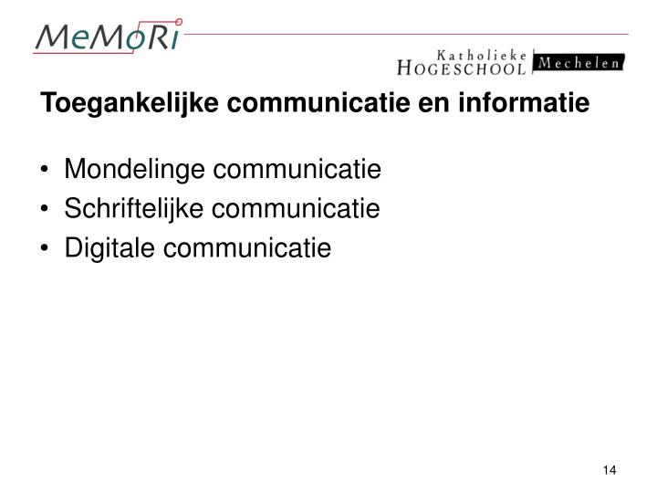 Toegankelijke communicatie en informatie