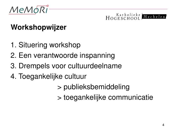 Workshopwijzer