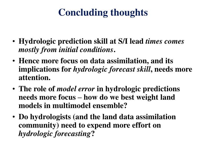 Hydrologic prediction skill at S/I lead