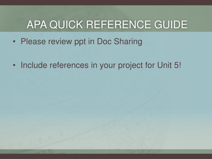 APA Quick Reference Guide