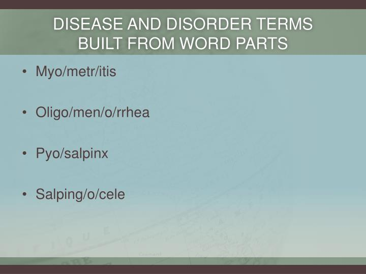 Disease and disorder terms