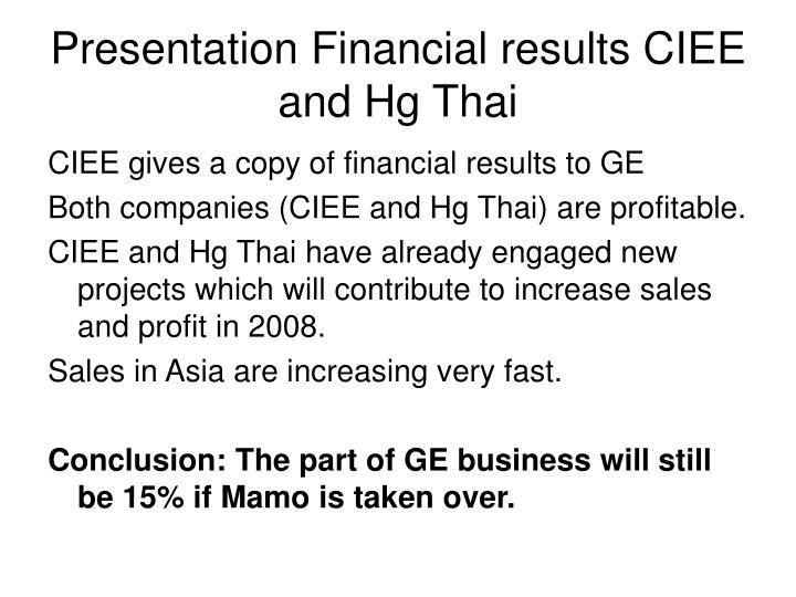 Presentation Financial results CIEE and Hg Thai