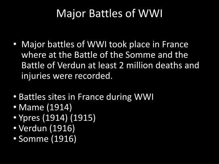 Major Battles of WWI