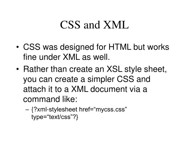 CSS and XML