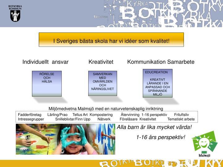 I Sveriges bästa skola har vi idéer som kvalitet!