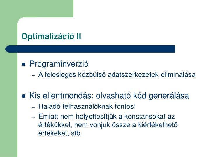 Optimalizáció II