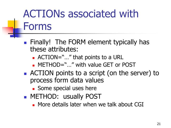 ACTIONs associated with Forms