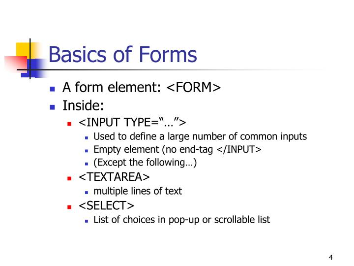Basics of Forms