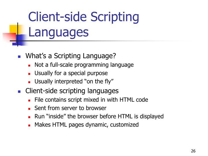 Client-side Scripting Languages