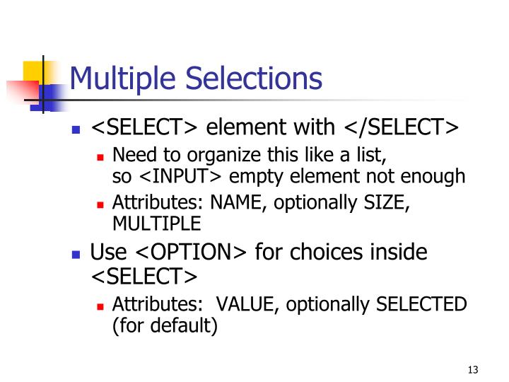 Multiple Selections