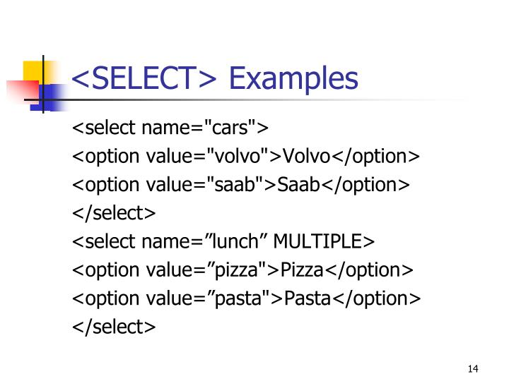 <SELECT> Examples