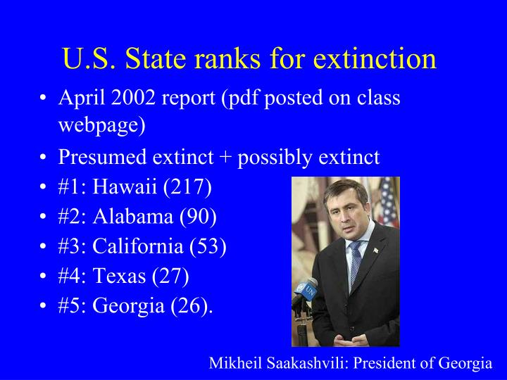 U.S. State ranks for extinction