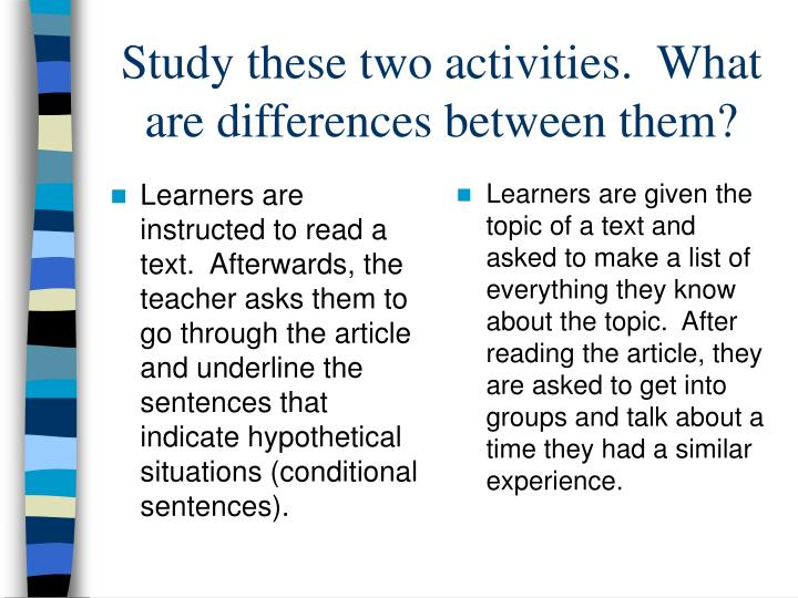 Learners are instructed to read a text.  Afterwards, the teacher asks them to go through the article and underline the sentences that indicate hypothetical situations (conditional sentences).