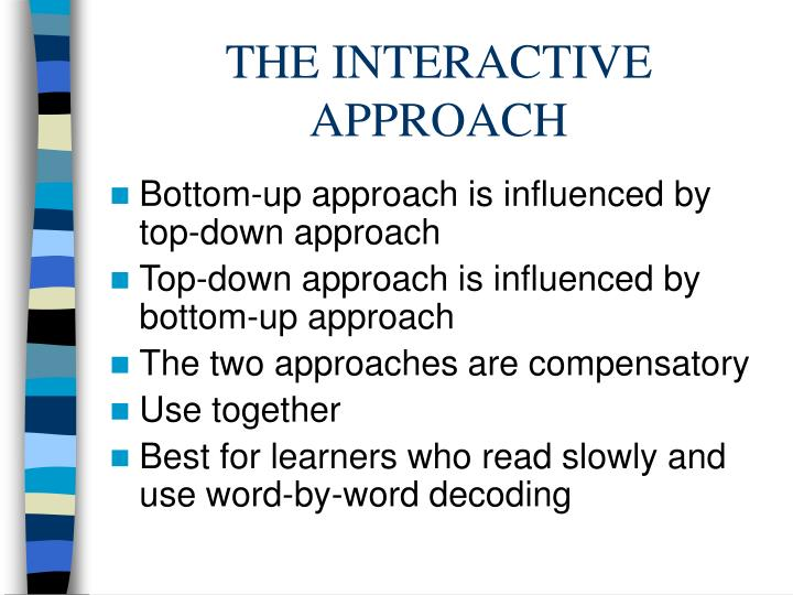 THE INTERACTIVE APPROACH