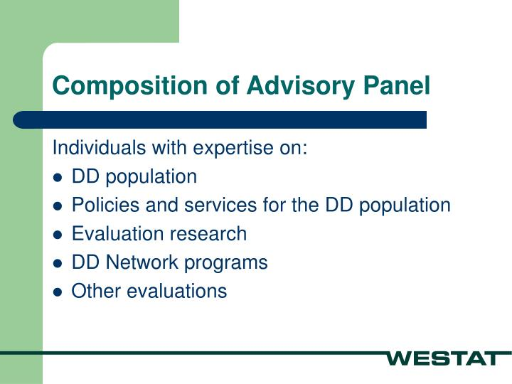 Composition of Advisory Panel