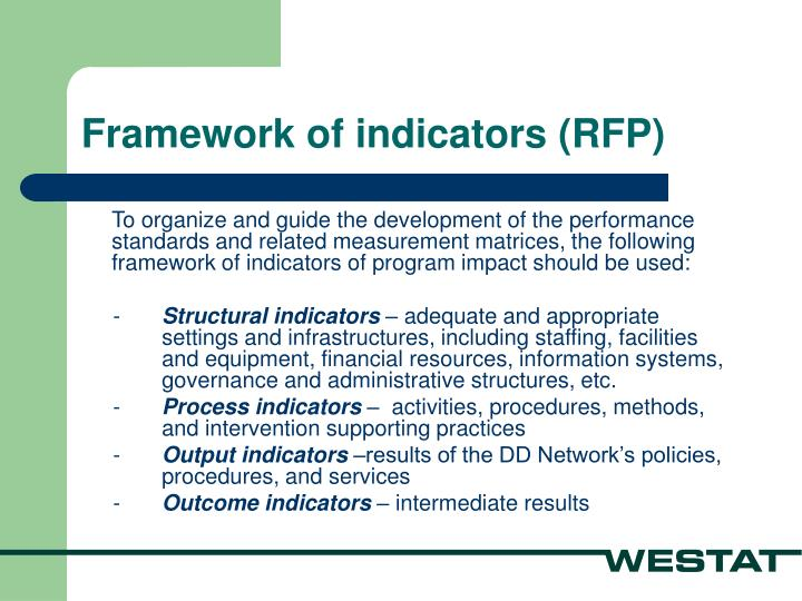 Framework of indicators (RFP)