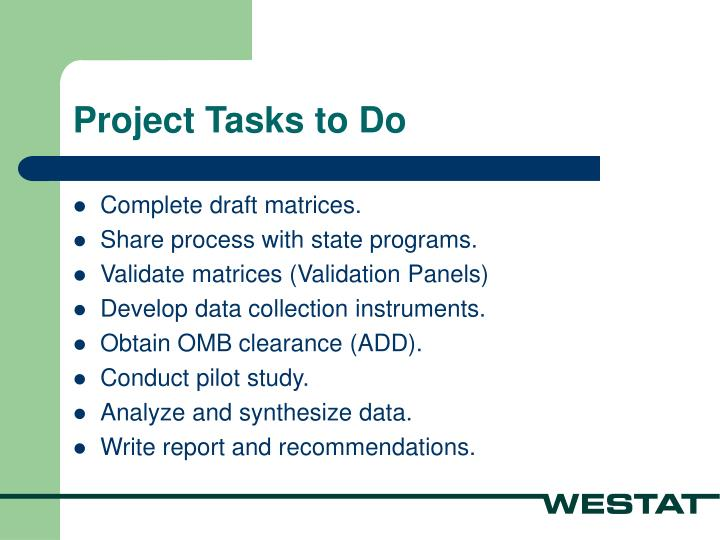 Project Tasks to Do