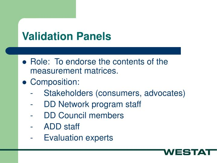 Validation Panels
