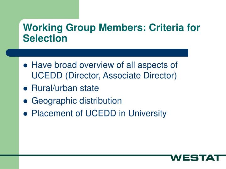 Working Group Members: Criteria for Selection