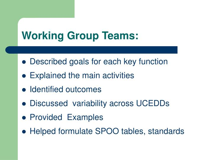 Working Group Teams: